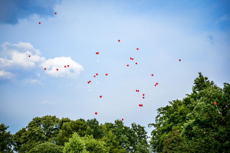 rote Herzen am blauen Himmel
