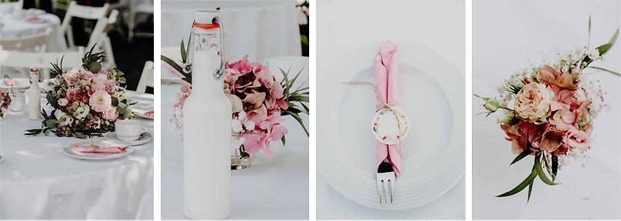 Hochzeitsdeko in rosa - altrosa